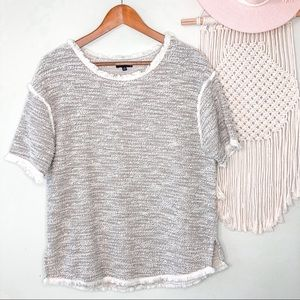 The Limited Short Sleeve Sweater With Fringe Trim